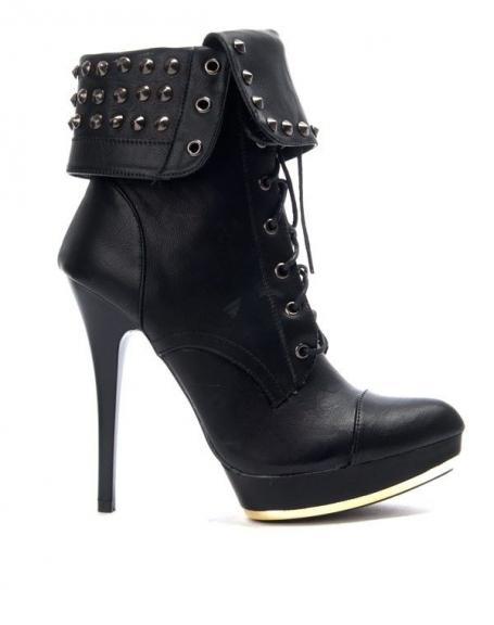 Chaussure femme Like You: Bottine à talon clouté noire