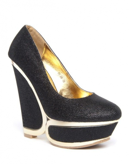 Chaussure femme noire Style Shoes: Escarpins compensé