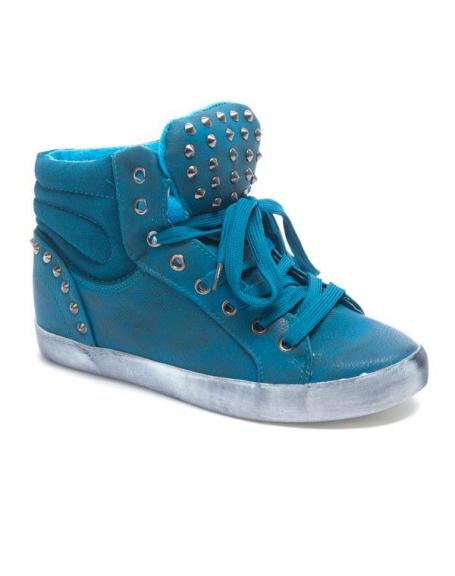 Chaussure femme Sinly: Basket clouté semelle vintage bleu