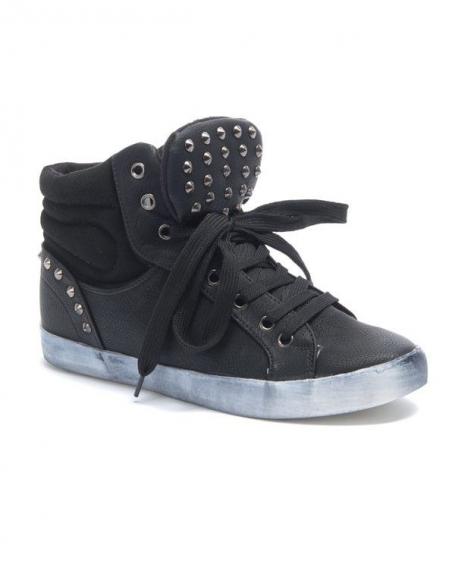 Chaussure femme Sinly: Basket clouté semelle vintage noir