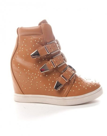 Chaussure femme Sinly: Basket compensée - camel