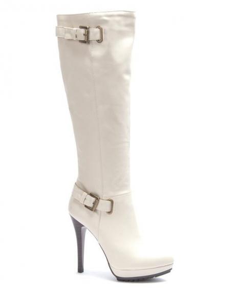 Chaussure femme Sinly: Botte à talon beige