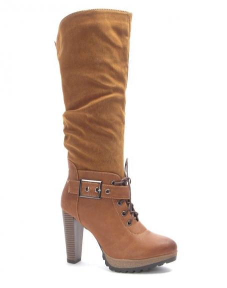 Chaussure femme Sinly: Botte à talon bi matière camel