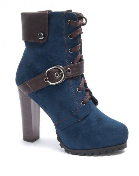 Chaussure femme Sinly: Botte à talon bleu