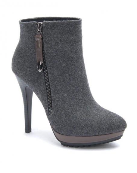 Chaussure femme Sinly: Botte à talon gris