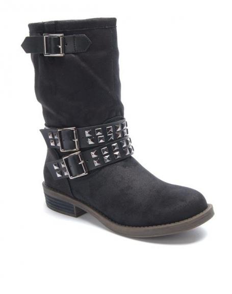Chaussure femme Sinly: Botte cloué vintage noire