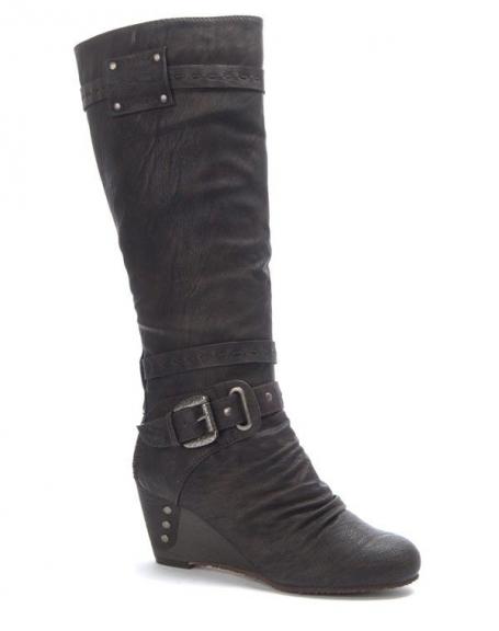 Chaussure femme Sinly: Botte compensé marron