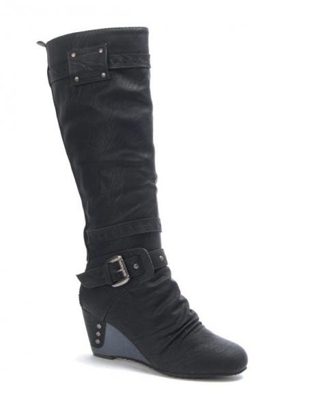 Chaussure femme Sinly: Botte compensé noire