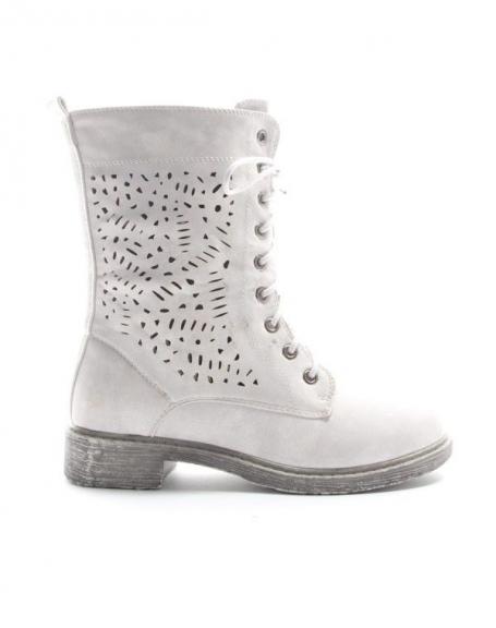 Femme chaussures bottillon perforé bottes blanc 37 or7hqF