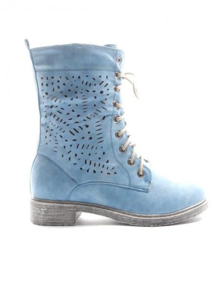 Chaussure femme Sinly: Botte perforée - bleu