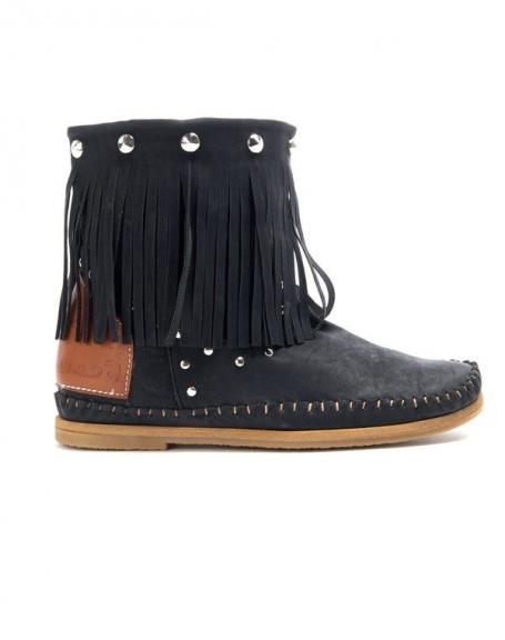 Chaussure femme Sinly: Bottines à franges - noir