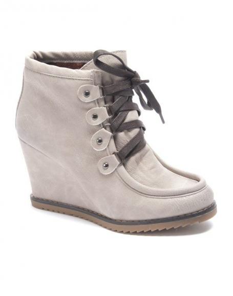 Chaussure femme Sinly: Bottines à talon compensés beige