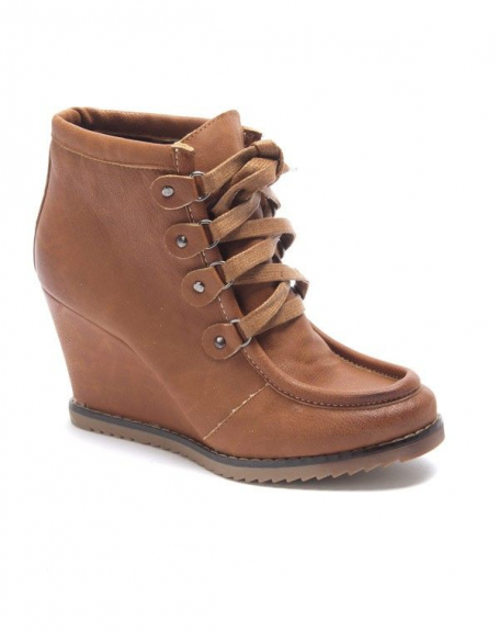 Chaussure femme Sinly: Bottines à talon compensés camel