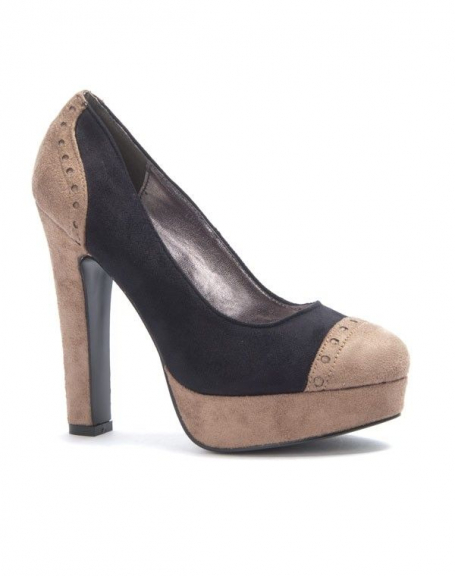 Chaussure femme Sinly: Escarpin bi couleur kaki