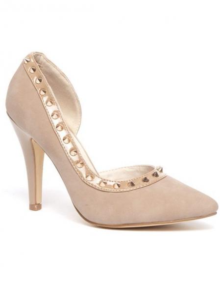 Chaussure femme Sinly: Escarpin clouté taupe (beige)