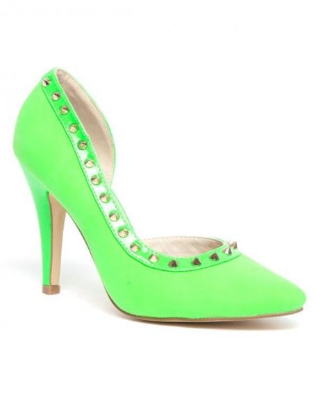 Chaussure femme Sinly: Escarpin clouté vert