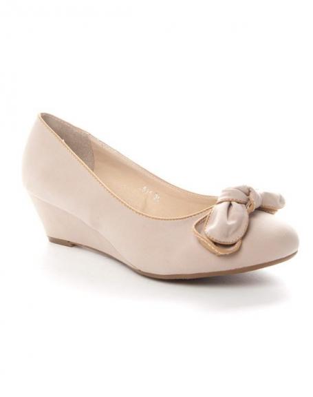 Chaussure femme Sinly: Escarpin compensé beige