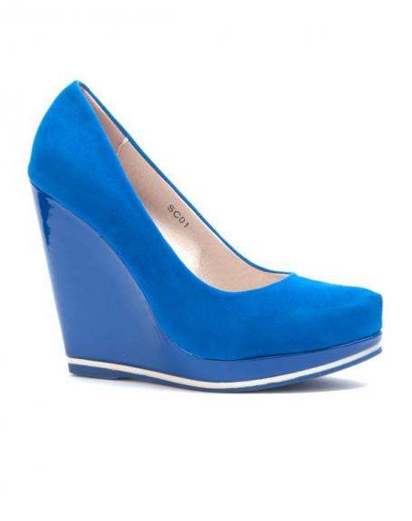 Chaussure femme Sinly: Escarpin compensé bleu