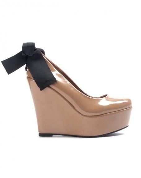 Chaussure femme Sinly: Escarpin compensé kaki