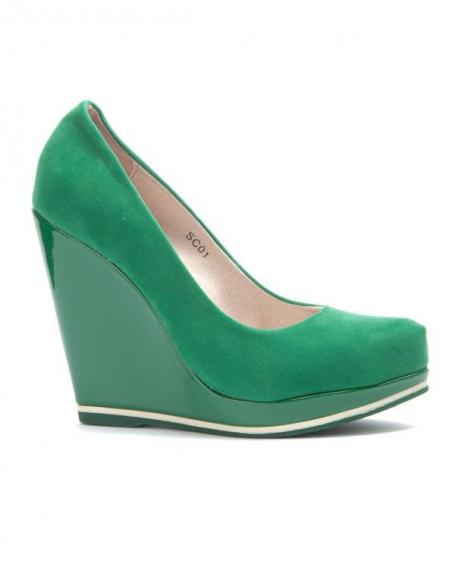 Chaussure femme Sinly: Escarpin compensé vert