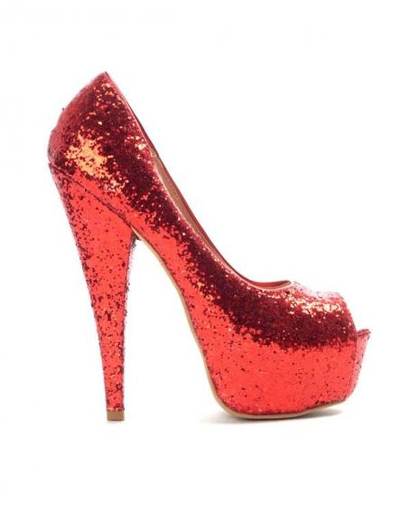 Chaussure femme Sinly: Escarpin pailleté rouge