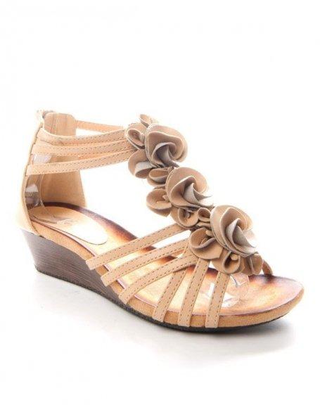 Chaussure femme Sinly: Sandale compensée beige