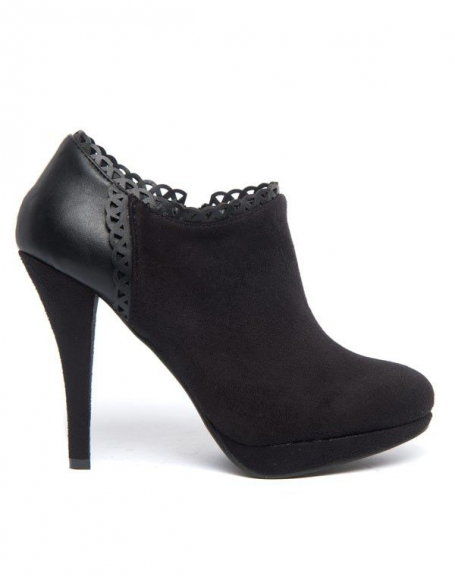 Chaussure femme Sinly: talon aiguille, zip et ornement dentelé
