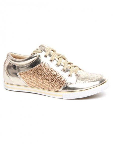 Chaussure femme sport or et paillettes à semelle blanche