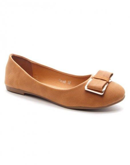 Chaussure femme Style Shoes: Ballerine avec noeud - camel