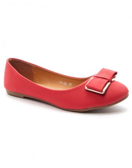 Chaussure femme Style Shoes: Ballerine avec noeud - rouge