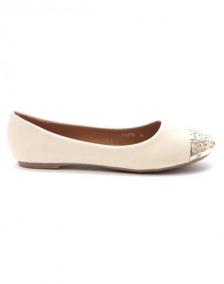 Chaussure femme Style Shoes: Ballerine bout dorée - beige
