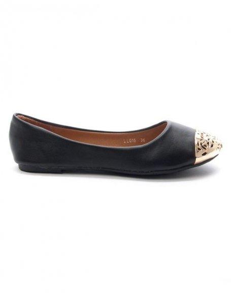 Chaussure femme Style Shoes: Ballerine bout dorée - noir