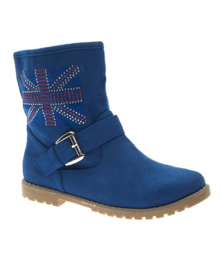 Chaussure femme Style Shoes: Botte English flag bleu