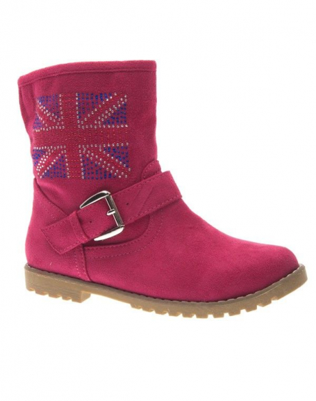 Chaussure femme Style Shoes: Botte English flag fuchsia
