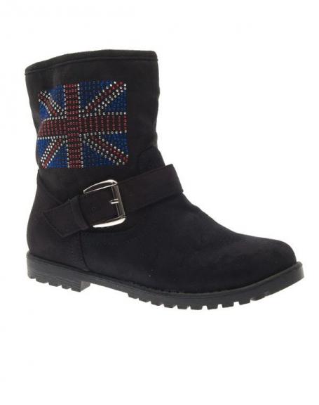 Chaussure femme Style Shoes: Botte English flag noir