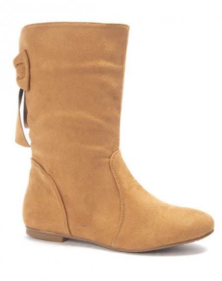Chaussure femme Style Shoes: Botte plate camel