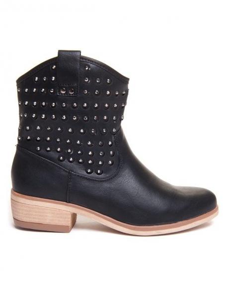 Chaussure femme Style Shoes: Bottine noire avec strass