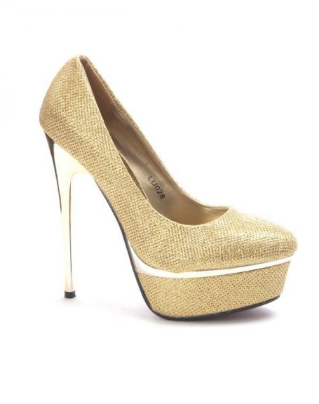 Chaussure femme Style Shoes: Escarpin brillant or