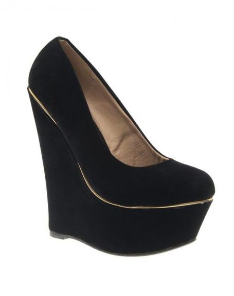 Chaussure femme Style Shoes: escarpin compensé noir