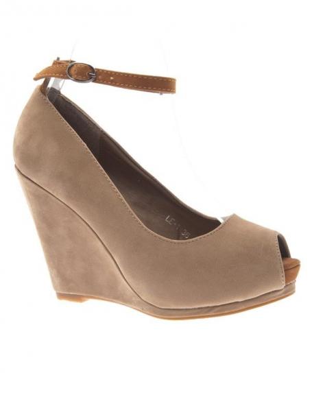 Chaussure femme Style Shoes: Escarpin ouvert beige