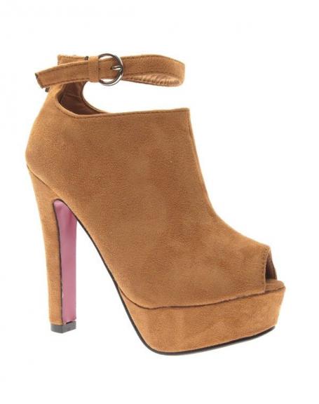 Chaussure femme Style Shoes: Escarpin ouvert camel