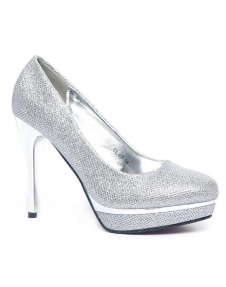 Chaussure femme Style Shoes: Escarpin pailleté argent