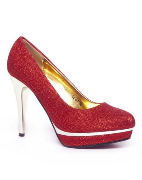 Chaussure femme Style Shoes: Escarpin pailleté rouge
