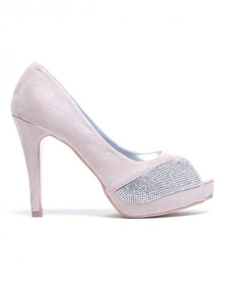 Chaussure femme Style Shoes: Escarpins beiges à bout ouvert