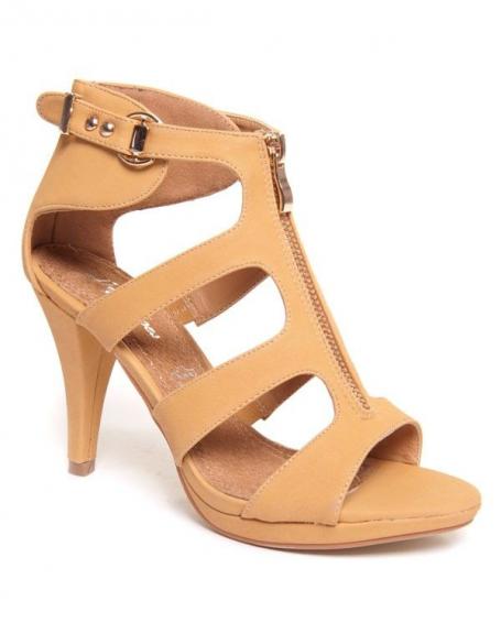 Chaussure femme Style Shoes: Sandales camel à talons