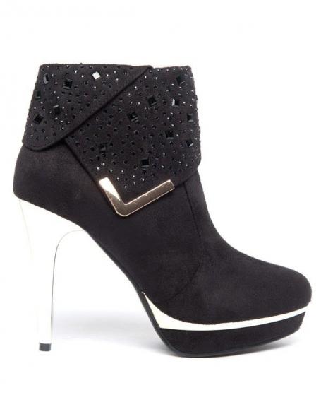 Chaussure femme Style Shoes: Talon doré et strass noirs