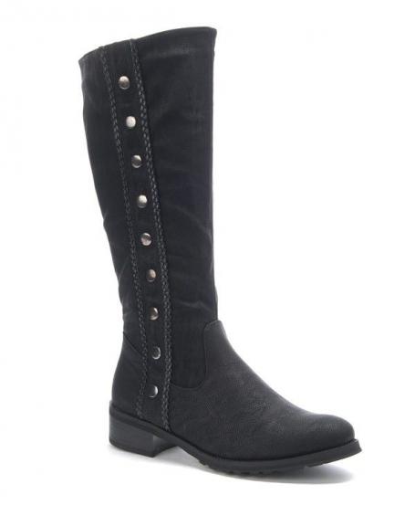 Chaussure femme Sunrise C: Botte cloutée noire