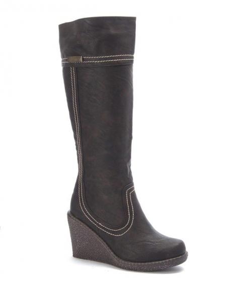 Chaussure femme Sunrise C: Botte talon compensé marron