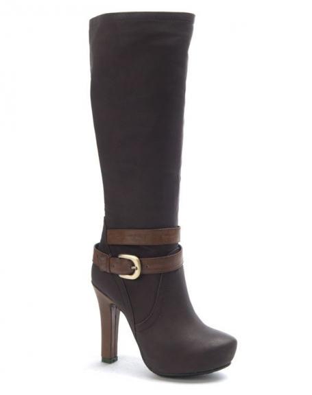 affaf1c237c Chaussure femme SunriseC  Botte à talon marron