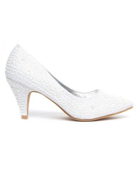 Chaussures à talons Ideal à strass argent et semelle or